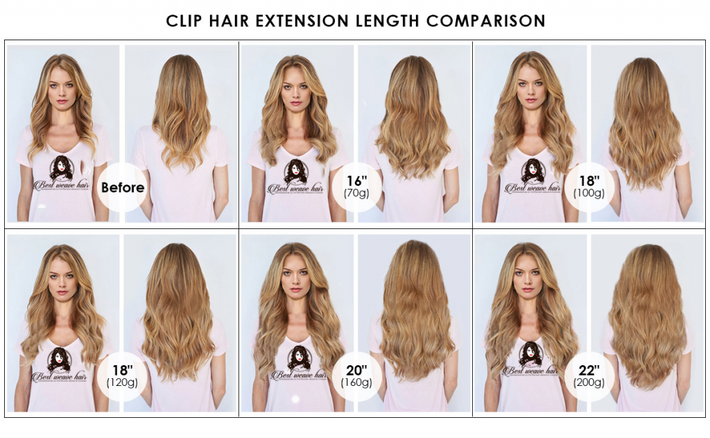 Clip In Hair Extensions Color And Weight Chart