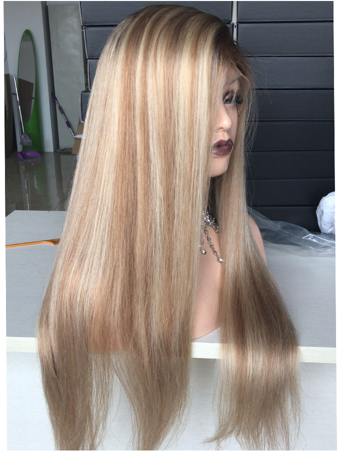 Straight Blond Full Lace Wig Color 4 27 613